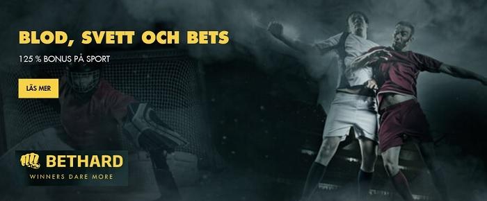Spelbolaget Bethard ger dig 125% bonus på sport