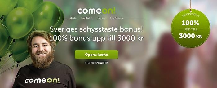 Unik oddsbonus hos ComeOn på 3000 kronor