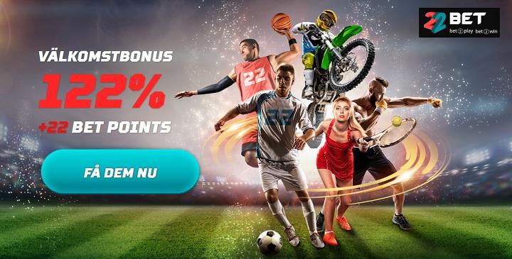 22bet med 122 % bonus för nya spelare