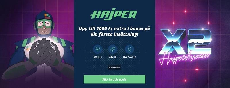 Hajper sportbonus dubblar din insättning upp till 1000 kr!